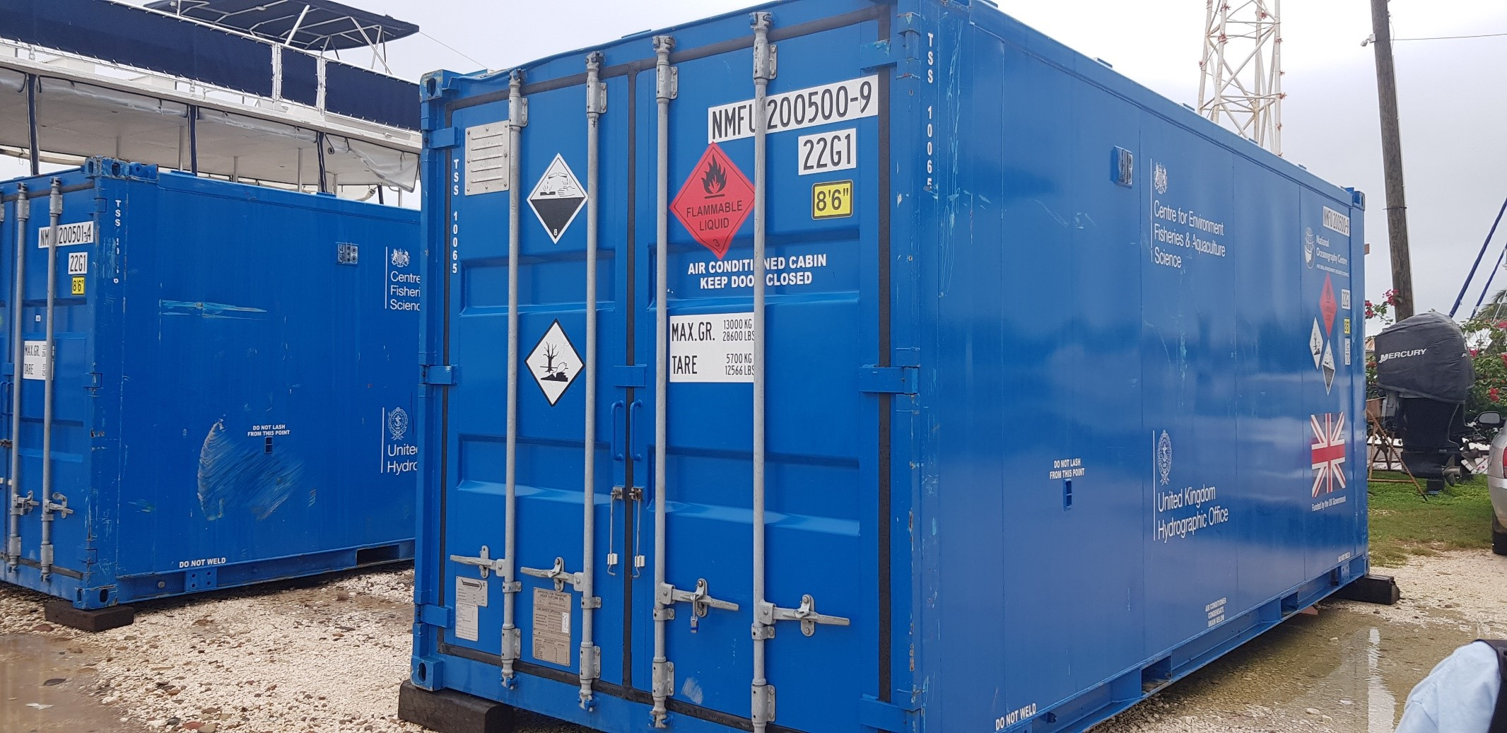 Operations and Workshop containers on site in Belize Marina 2019